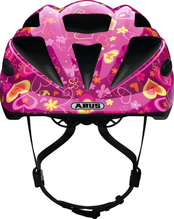 Abus Hubble Purple Flower - Casque vélo bébé - Tête à Casque - Face