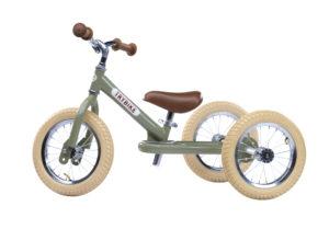 Draisienne Trybike Verte évolutive - Tricycle - Tête à Casque - Côté