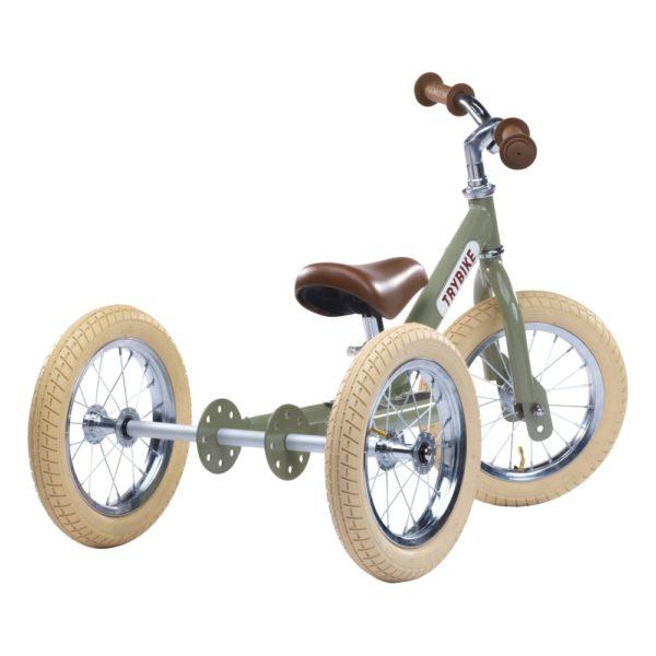 Draisienne Trybike Verte évolutive - Tricycle - Tête à Casque - Face