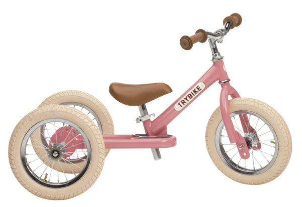 Draisienne Trybike Rose évolutive - Tricycle - Tête à Casque - Coté