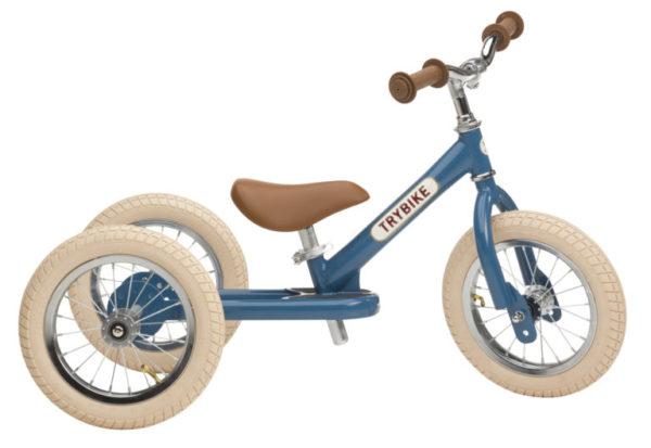 Draisienne Trybike Bleue évolutive - Tricycle - Tête à Casque - côté